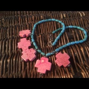 Jewelry - Turquoise and pink stone crosses